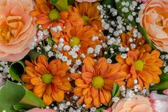 Bouquet of chrysanthemums and roses. Orange and white flowers arrangement. Floristic design stock images