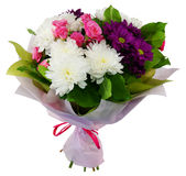 Bouquet of chrysanthemums and shrub rose in package Stock Image