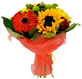 Bouquet of chrysanthemums and sunflowers Royalty Free Stock Photo