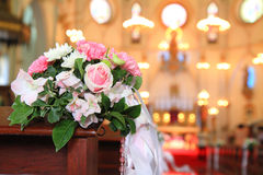 Bouquet in Church of Christian Stock Photo