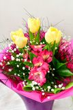Bouquet. Close up of Bouquet of  spring flowers and yellow tulips Royalty Free Stock Photos