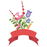 Bouquet coloré de fleur avec une bannière rouge Photo libre de droits
