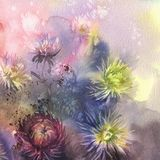 Bouquet of color asters on brown watercolor background stock illustration