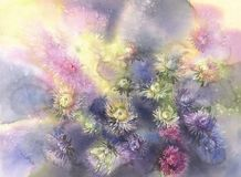 Bouquet of color asters on brown watercolor background Stock Photo