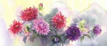 A bouquet of color dahlias watercolor background vector illustration