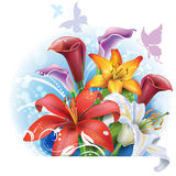 Bouquet of color Lilies and Calla. Flowers Royalty Free Stock Images