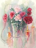 Bouquet of color peonies with candles watercolor stock illustration