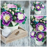 Bouquet from colored paper flowers, soft focus background Stock Images