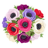 Bouquet of colorful anemone flowers. Vector illustration. Vector bouquet of red, pink, purple and white anemone flowers and green leaves Stock Images