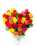 Bouquet of colorful assorted roses in heart shape Stock Image