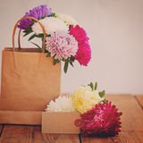 Bouquet of colorful asters in paper bag with empty greeting card for text. Toned image Royalty Free Stock Photos