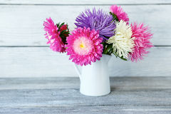 Bouquet of colorful asters in a white vase Royalty Free Stock Photography
