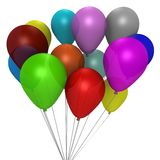 A bouquet of colorful balloons - a 3d image Royalty Free Stock Photo