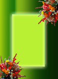 Bouquet of colorful flowers. Image and illustration of colorful flowers for greetings, on green border/frame background with copy space Stock Photo