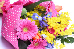 Bouquet of colorful flowers isolated on white Stock Images
