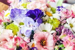 Bouquet of colorful flowers: orchids, white and pink chrysanthemums, pink and purple eustomas. Bouquet of colorful flowers: lilac and pink orchids, white and stock photography