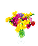 Bouquet. Of colorful flowers over white background Royalty Free Stock Photo