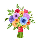 Bouquet of colorful flowers. Vector illustration. Royalty Free Stock Photos