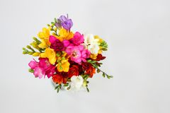 Bouquet of colorful flowers on white for spring and summer holidays and post card. Top view royalty free stock photos
