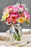 Bouquet of colorful freesia flowers Royalty Free Stock Photo