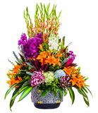 Bouquet of colorful lilies in vase isolated on white background Royalty Free Stock Photography