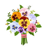 Bouquet of colorful pansy flowers. Vector illustration. Stock Photography