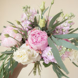 Bouquet of colorful pastel flowers in the hand Stock Image