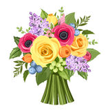 Bouquet of colorful roses, anemones and lilac flowers. Vector illustration. Stock Photo