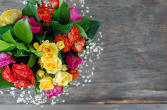 Bouquet of colorful roses Stock Photo