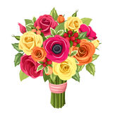 Bouquet of colorful roses, lisianthus and anemones flowers. Vector illustration. Royalty Free Stock Image