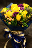 Bouquet, colorful spring flowers in blue tone. Stock Photo