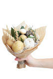 Bouquet colors hand fruits vegatables background bank royalty free stock images