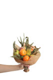 Bouquet colors hand fruits vegatables background bank Royalty Free Stock Photo
