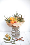 Bouquet colors hand fruits vegatables background bank Stock Images