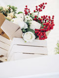 Bouquet of colourful Flowers white rose in white wooden box Royalty Free Stock Photos