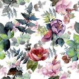Bouquet composition floral botanical flowers. Watercolor background illustration set. Seamless background pattern.