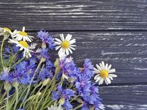 Bouquet of cornflowers, border fresh petal natural chamomile on a black wooden background beauty. Bouquet of cornflowers chamomile on a black wooden background Stock Photos