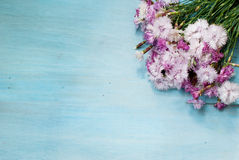 Bouquet of cornflowers on a white wooden background Stock Photos