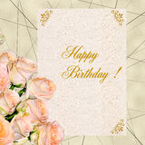 Bouquet of creamy roses with birthday greeting card Stock Photos