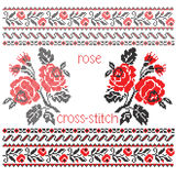 Bouquet cross-stitch embroidery Royalty Free Stock Images