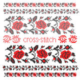 Bouquet cross-stitch embroidery Royalty Free Stock Image