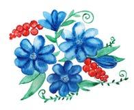 Bouquet décoratif avec la chicorée et la groseille rouge Photographie stock libre de droits
