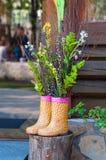 Bouquet décoratif des fleurs dans les bottes sur le fond en bois images libres de droits
