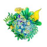 Bouquet d'été peint par aquarelle Photo stock