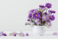 Bouquet d'amellus d'aster dans le vase en céramique Image libre de droits