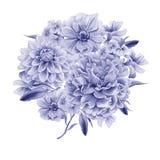 Bouquet d'aquarelle avec des fleurs dahlia anémone Pivoine Photographie stock
