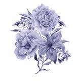 Bouquet d'aquarelle avec des fleurs Lis pensées Rose Photographie stock