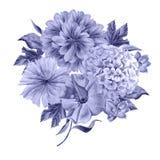 Bouquet d'aquarelle avec des fleurs Pivoine hydrangea Photos libres de droits