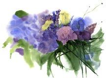 Bouquet d'aquarelle des fleurs Photographie stock