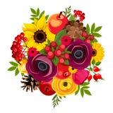 Bouquet d'automne avec des fleurs, des baies, des pommes, des cônes et des feuilles Illustration de vecteur Image stock
